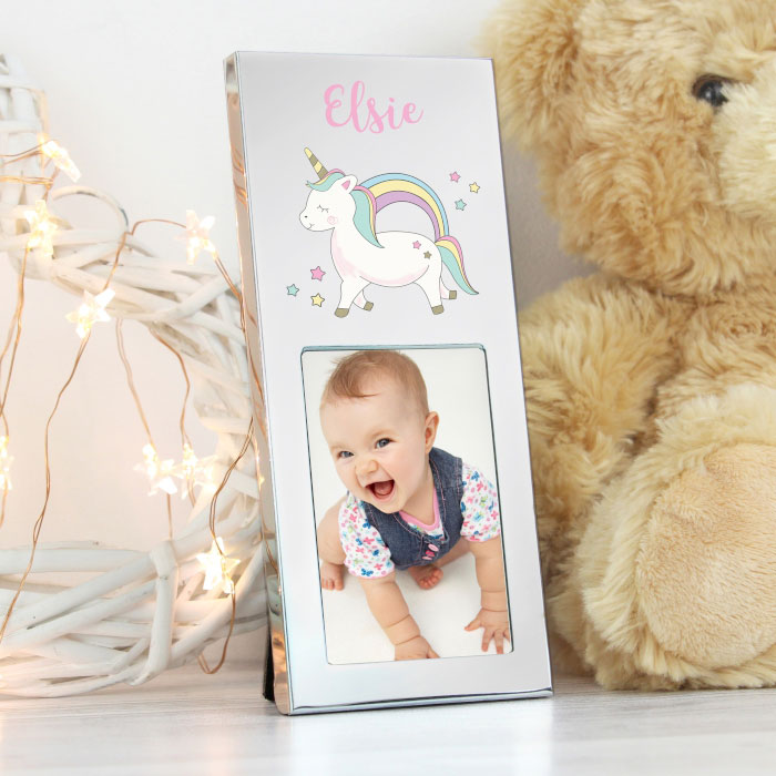 Personalised Baby Unicorn Aluminium 2x3 Photo Frame