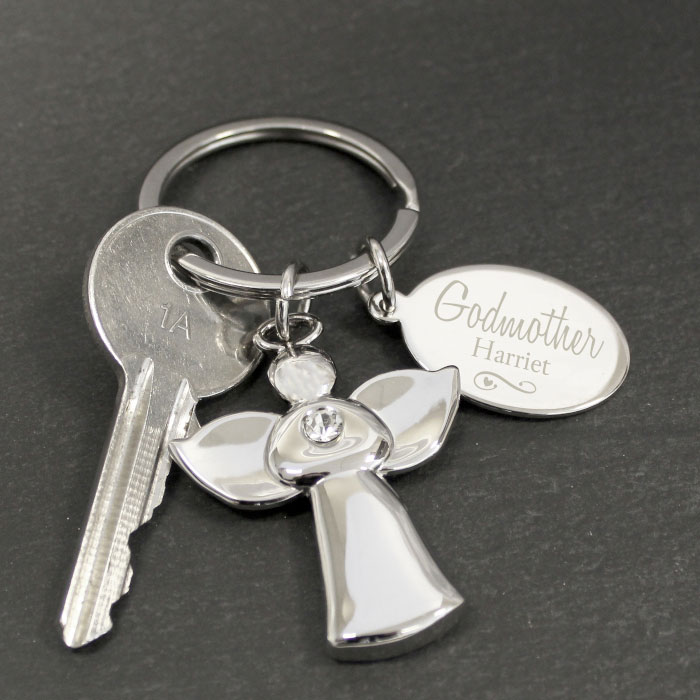 Personalised Silver Plated Godmother Angel Keyring