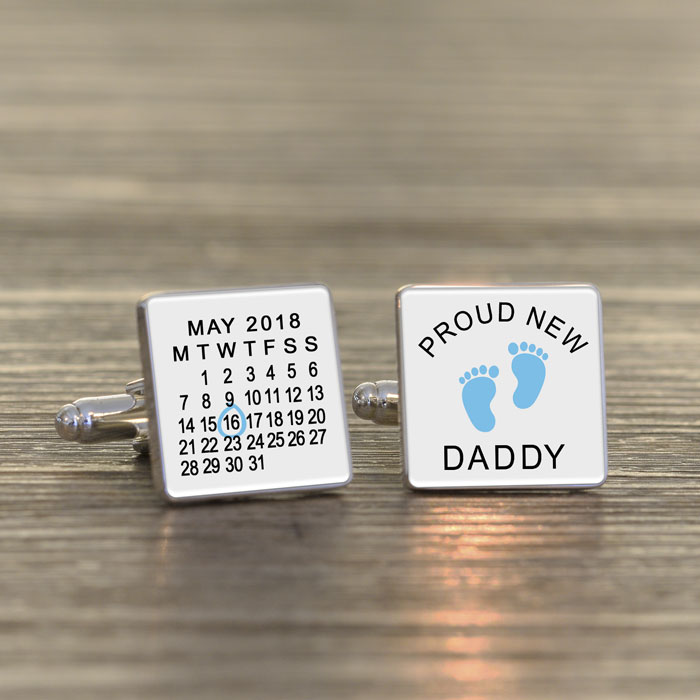 Personalised Proud New Daddy Silver Plated Cufflinks