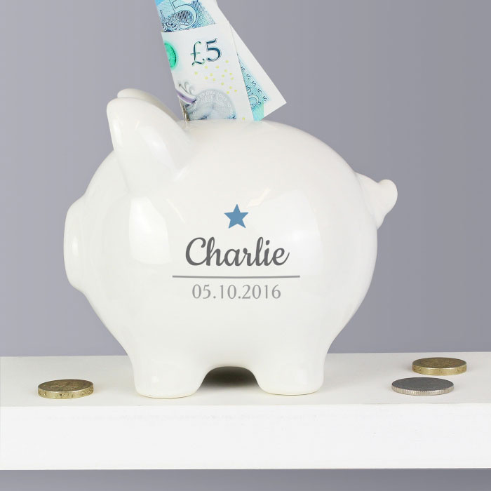 Personalised Blue Star Motif Ceramic Piggy Bank