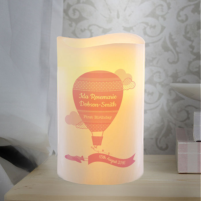 Personalised Hot Air Balloon Baby Girl Nightlight LED Candle