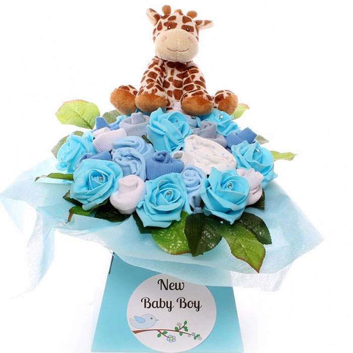 Newborn Baby Boy's Blue Giraffe Clothing Bouquet