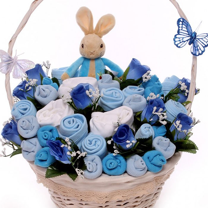 Peter Rabbit Blue Newborn Baby Clothing Bouquet Basket