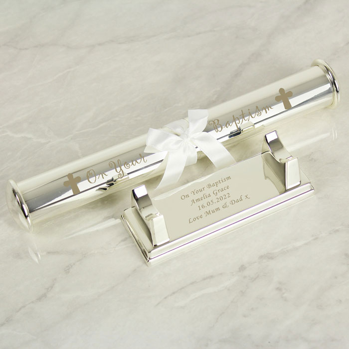Personalised Silver Plated Cross Certificate Holder