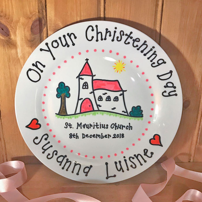Personalised China Christening Plate