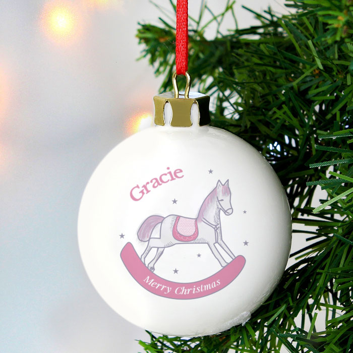 Personalised 1st Christmas Pink Rocking Horse Ceramic Bauble