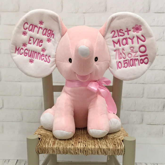 Teddy Personalised Embroidered Pale Pink Dumble Elephant New baby Cubbies