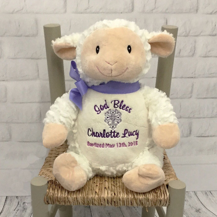 Personalised Embroidered Cubbies Christening Lamb Toy
