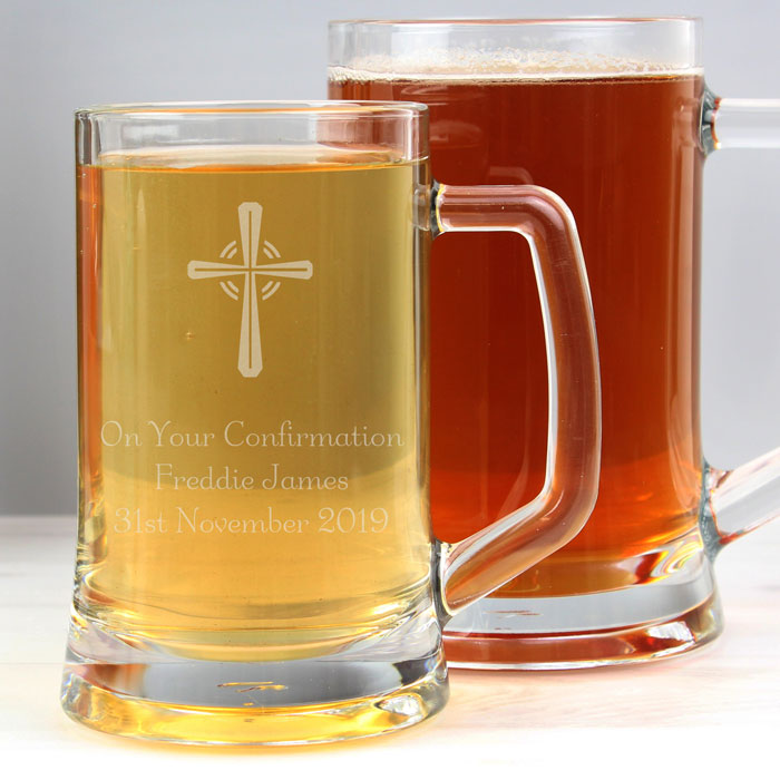 Personalised Half Pint Glass Confirmation Tankard