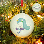 Personalised Winter Unicorn Christmas Tree Bauble