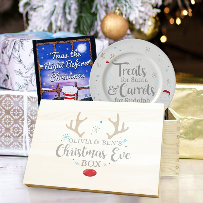 Personalised Christmas Eve Box Set With Book & Plate