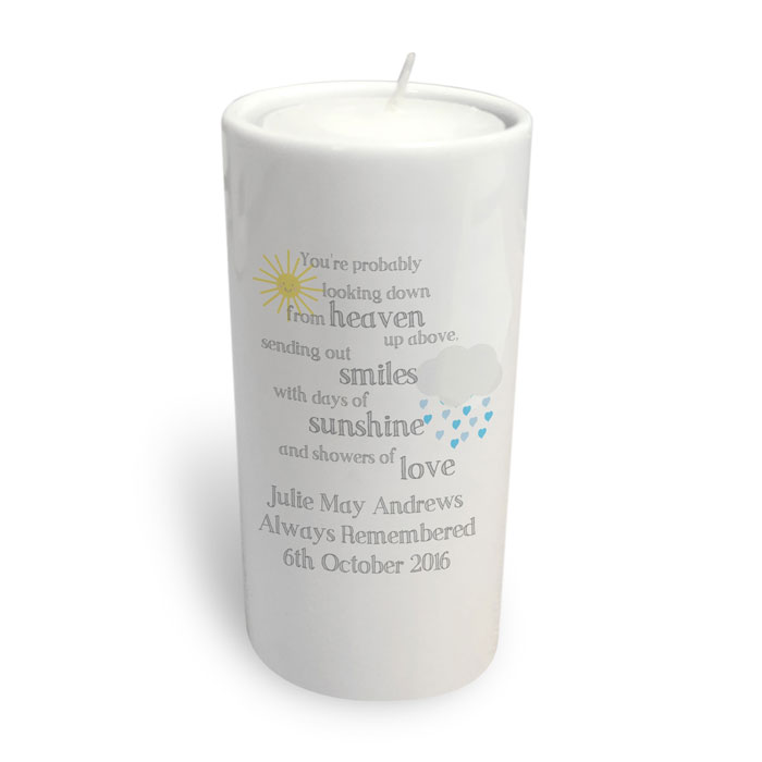 Showers of Love Personalised Memorial Round Tealight Holder