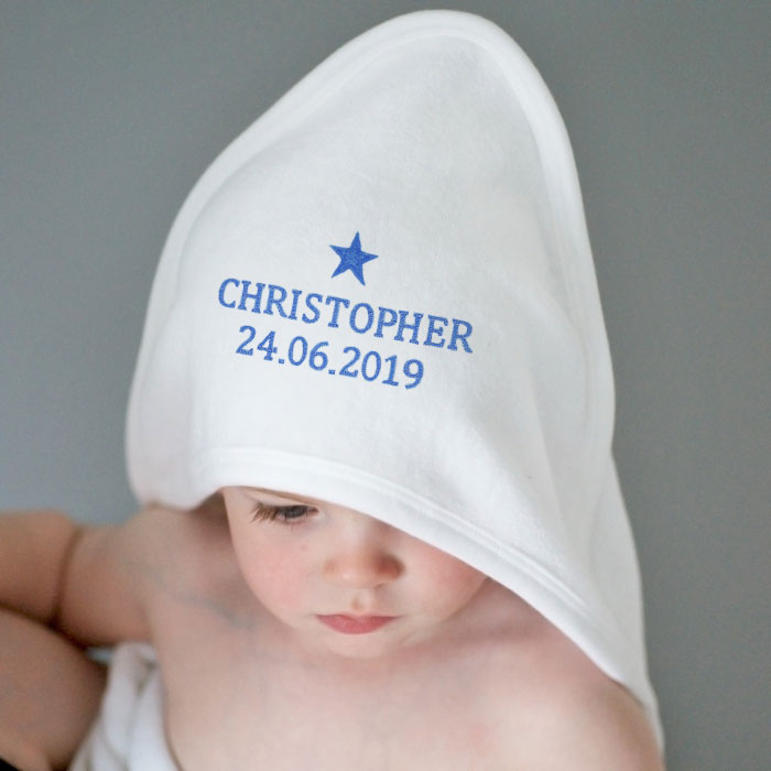 Personalised Blue Star White Hooded Baby Towel