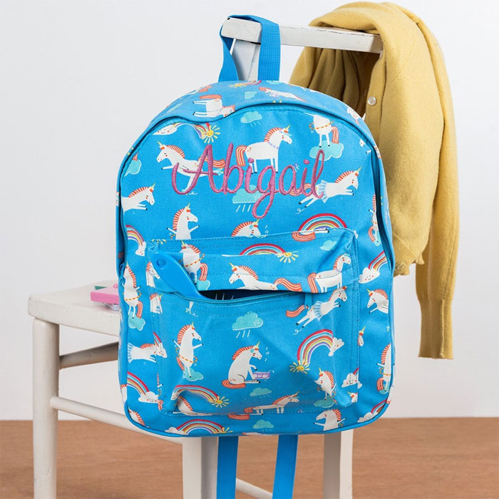 Personalised Girls Unicorn Backpack School Nursery Bag