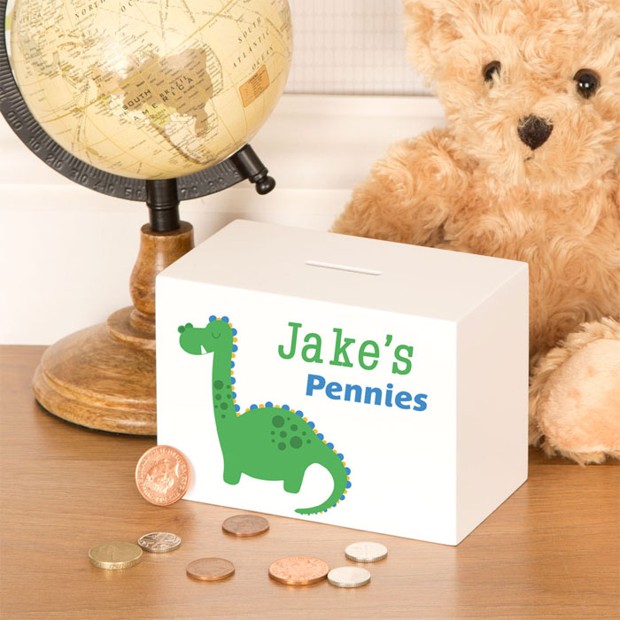 Boys Personalised Dinosaur Wooden Money Box