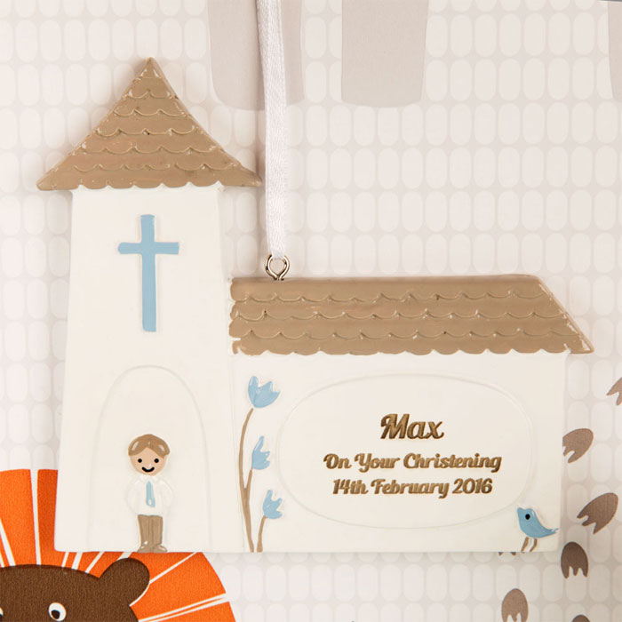 Boys Personalised Christening Church Ornament