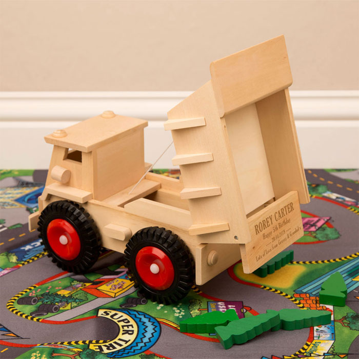Personalised Engraved Wooden Dumper Truck Toy