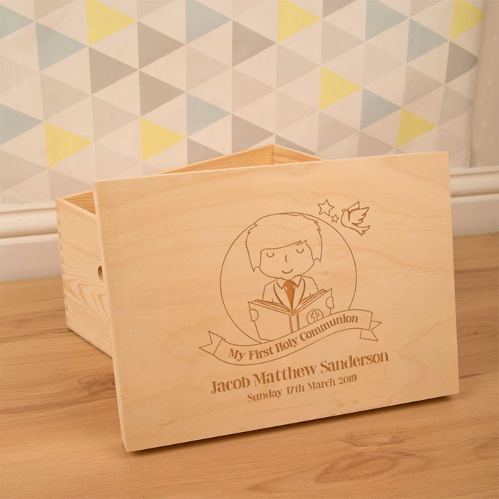 Boys Laser Engraved 1st Communion Wooden Keepsake Box