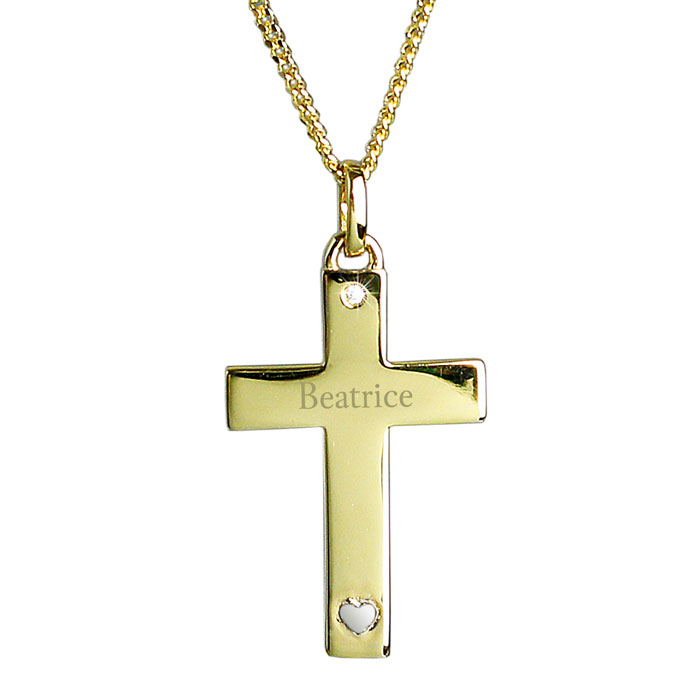 Personalised Gold Plated and Sterling Silver Cross Necklace