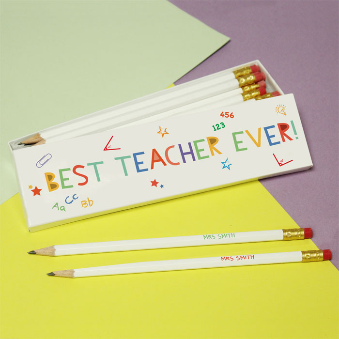 Best Teacher Ever Personalised White Pencils in Box