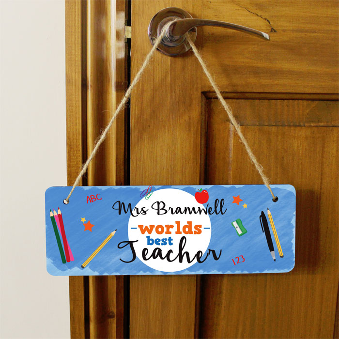 Worlds Best Teacher Personalised Wooden Hanging Sign