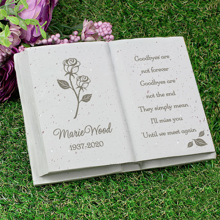 Personalised Rose Memorial Book Graveside Ornament