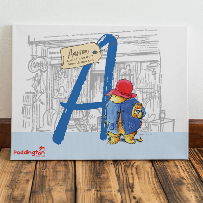 Personalised Paddington Bear Initial Childrens Wall Canvas