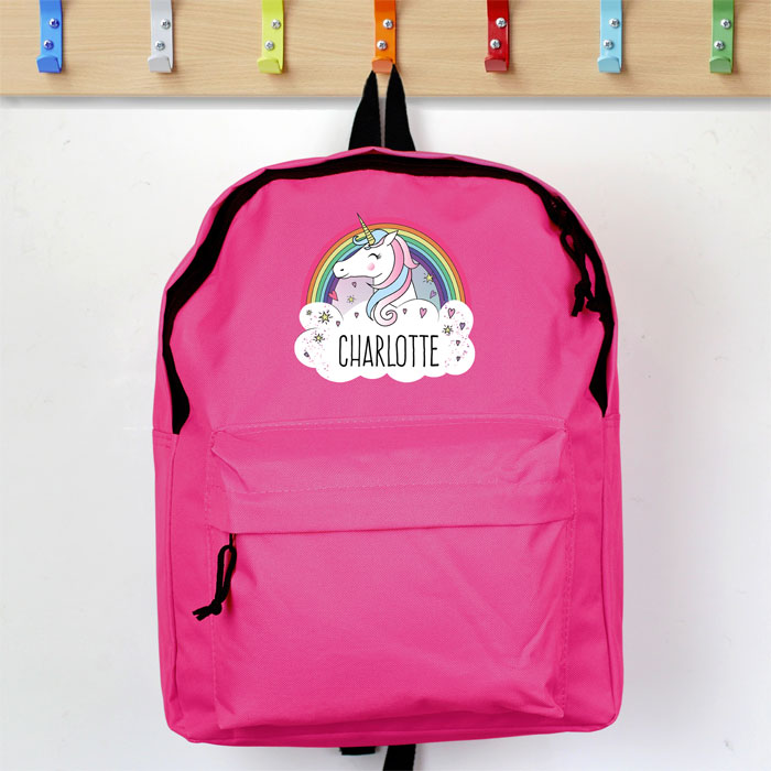 Personalised Girls Unicorn Pink Backpack School Bag