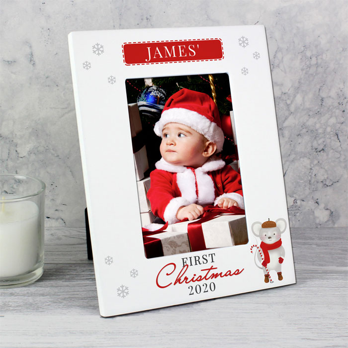 Personalised 1st Christmas Mouse White 6x4 Baby Photo Frame