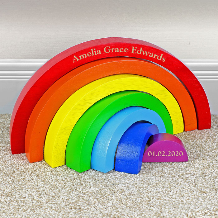 Personalised Wooden Rainbow Puzzle Baby Toddler Toy