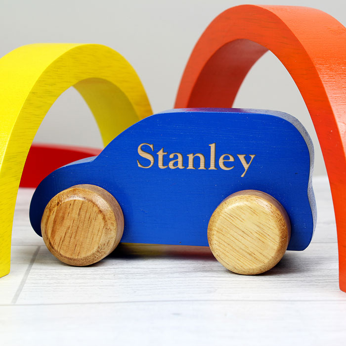 Boy's Personalised Wooden Blue Toy Car Baby Toddler Toy