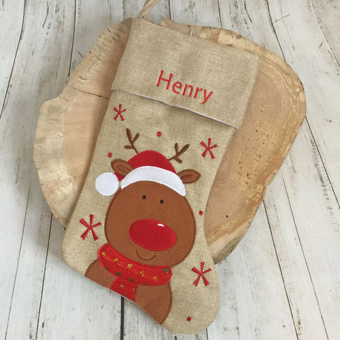 Personalised Hessian Reindeer Childrens Christmas Stocking