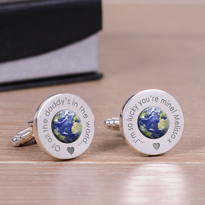 Personalised In The World Daddy or Granddad Silver Cufflinks