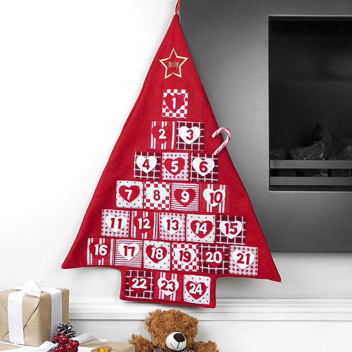 Kids Personalised Red Fabric Christmas Tree Advent Calendar