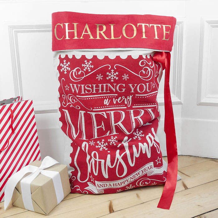 Personalised Childrens Traditional Red Christmas Santa Sack