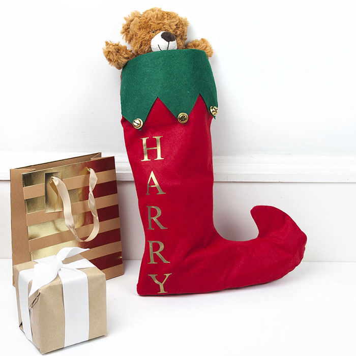 Kids Personalised Red Christmas Stocking With Jingle Bells