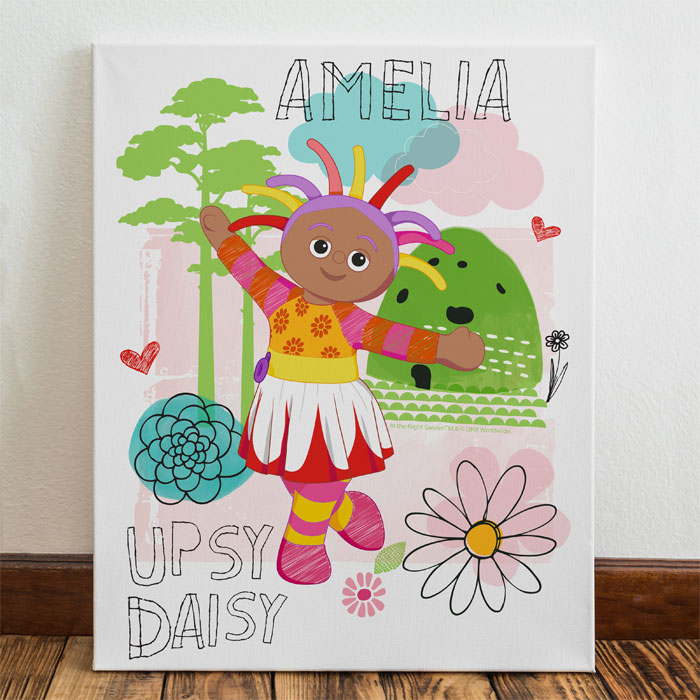 Girls Personalised Upsy Daisy Canvas