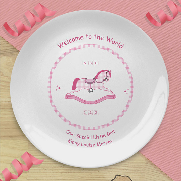 Girl's Pink & White Personalised China Rocking Horse Plate