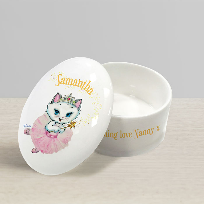 Girl's Personalised Nina Fairy Bone China Lidded Trinket Box