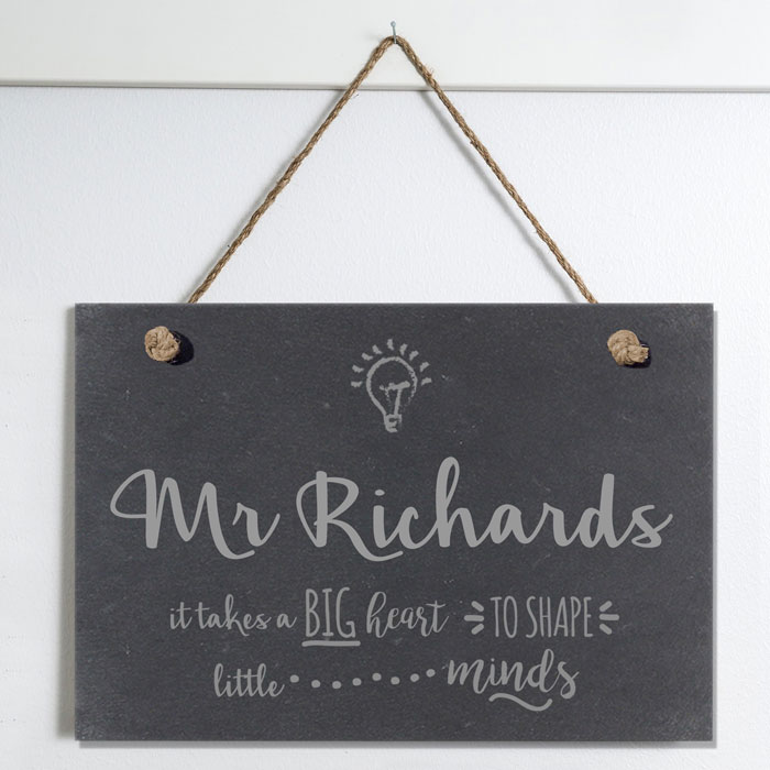 Personalised Teachers Shape Little Minds Slate Hanging Sign