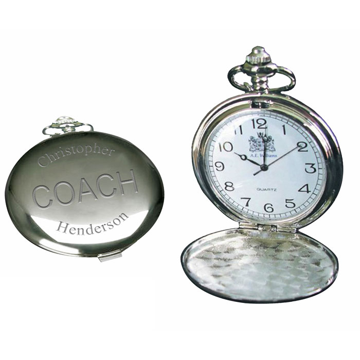 Personalised Engraved Coach Chrome Fob Watch