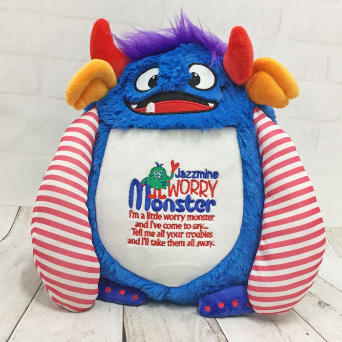 Personalised Cubbies Spike Blue Worry Monster Teddy