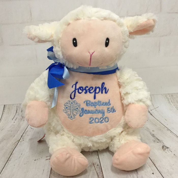 Boy's Personalised Cubbies Baptism or Christening Lamb Toy