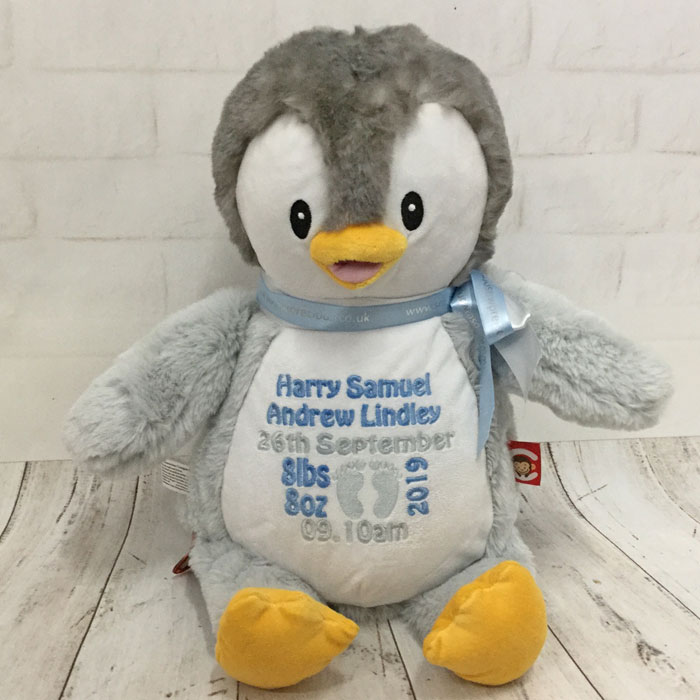 Boy or Girl Personalised Cubbies Grey Birth Penguin Teddy