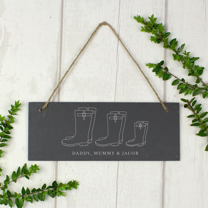 Personalised Welly Boot Family of Three Hanging Slate Plaque