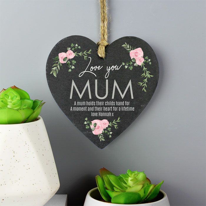 Personalised Abstract Rose Printed Slate Heart Decoration