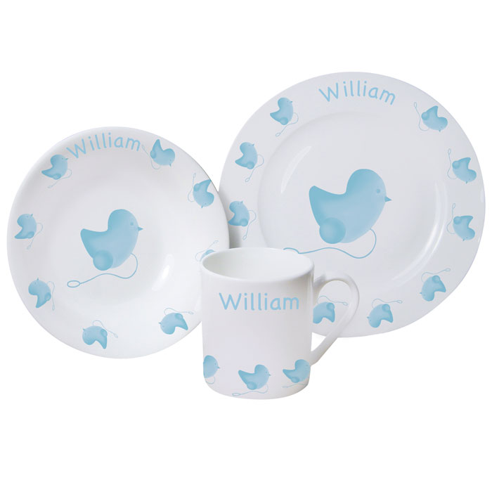 Boy's Personalised Blue Chick China Breakfast Set