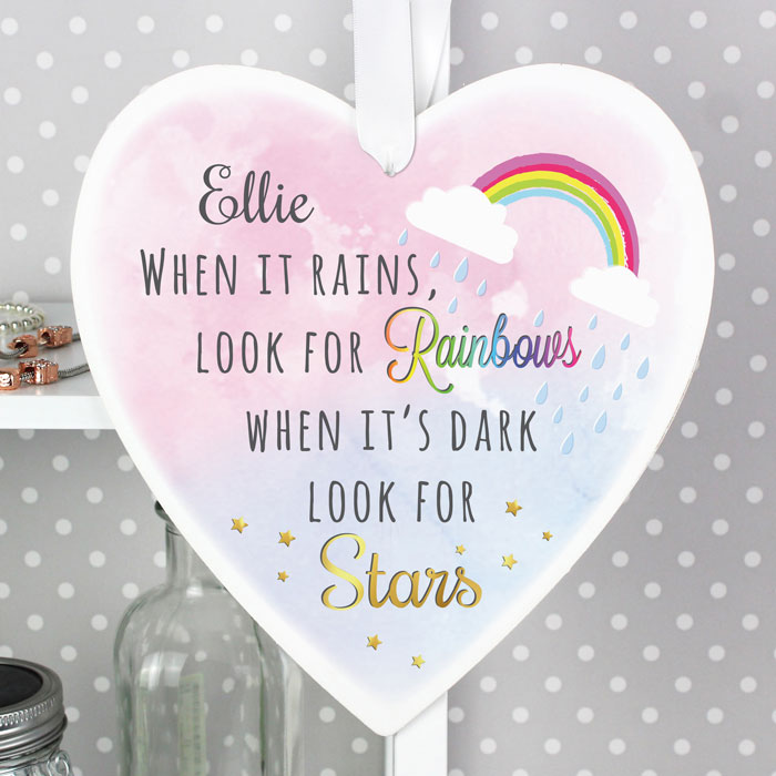 Personalised Rainbows and Stars Wooden Heart Decoration