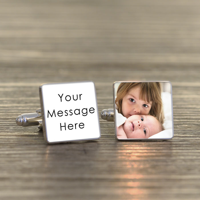 Personalised Any Message Square Cufflinks with Photo