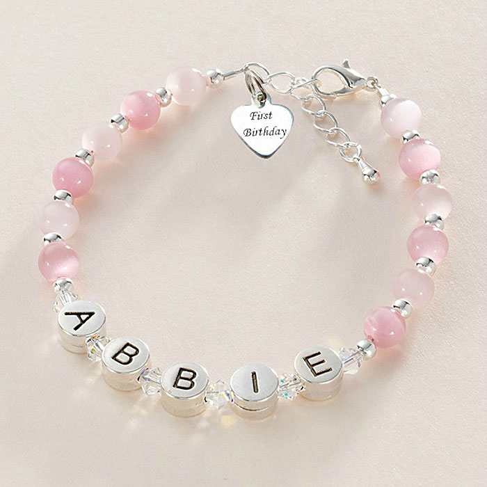 Pewter & Swarovski Crystals 1st Birthday Name Bracelet